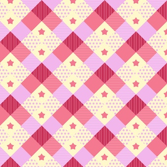 Kawaii pattern with different textures in pink and yellow