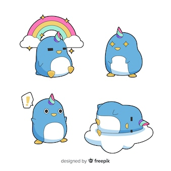 Kawaii penguicorn character collectio