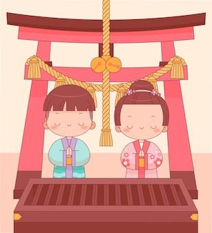 Hatsumode를 축하하는 kawaii 사람들