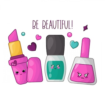 Kawaii pink lipstick, nail polishes