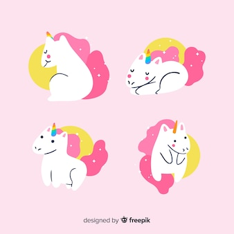 Kawaii pink unicorn character collection