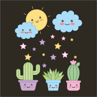 Kawaii potted plants and cloud sun dark background cartoon