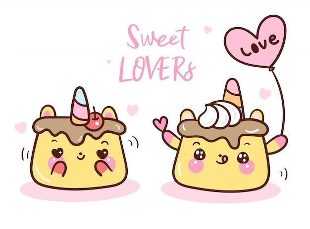 Kawaii pudding lover food cartoon