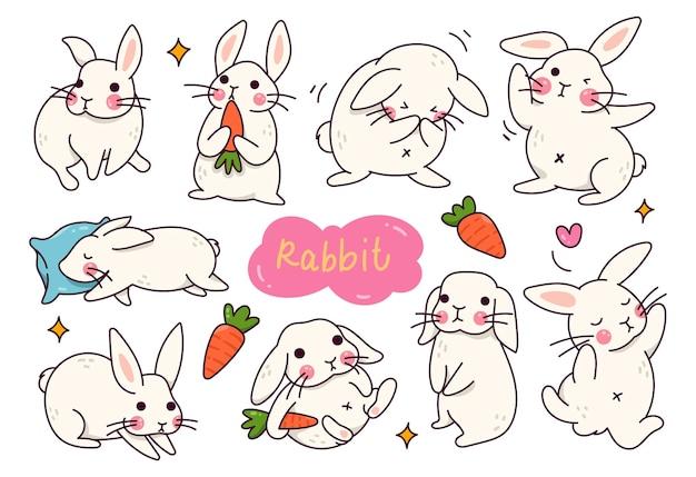 Каваи кролик мультфильм каракули набор