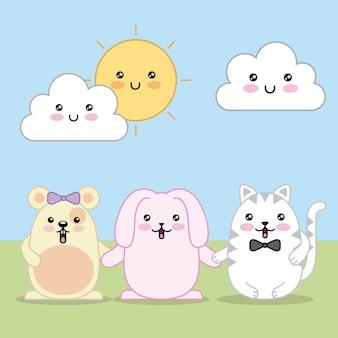 かわいいウサギのマウスと猫の漫画の雲と太陽