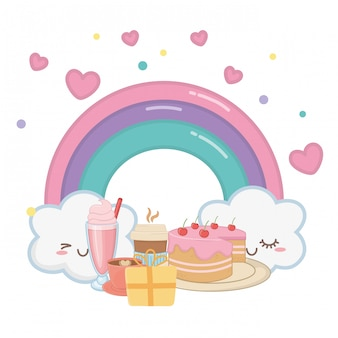 Kawaii rainbow and happy birthday