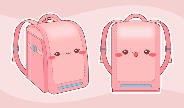 Kawaii randoseru backpack in pink tones