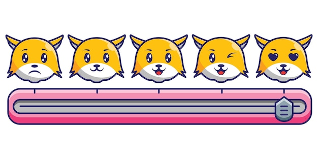 Kawaii rating with 5 cute cat expression icon concept design. premium vector