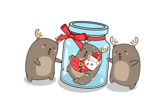 Kawaii reindeer and santa cat inside the bottle with friends