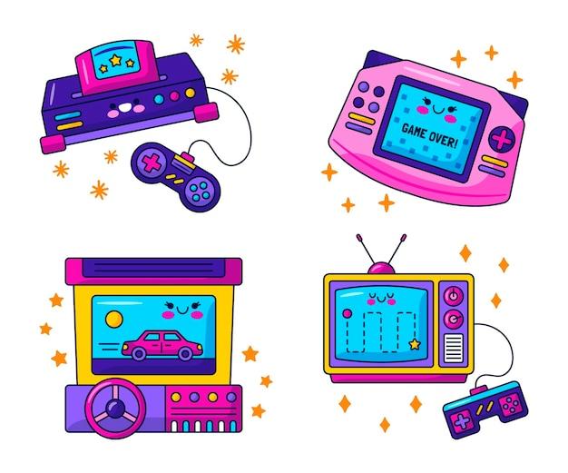 귀여운 복고풍 비디오 게임 스티커 컬렉션