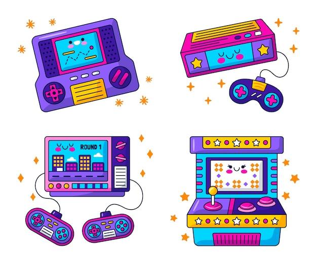 Collezione di adesivi per videogiochi retrò kawaii