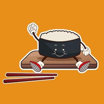 귀여운 롤 초밥 동양 음식 나무 접시 찹 스틱
