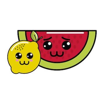 Kawaii sad watermelon and happy lemon icon