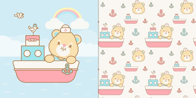 Kawaii sailor bear illustration and seamless pattern