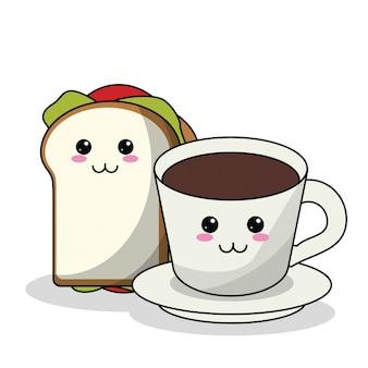 Бутерброд kawaii и чашка кофе