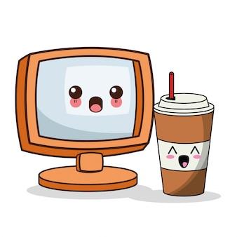 Kawaii screen paper cup straw image