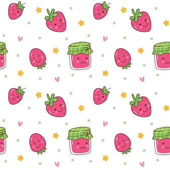 Kawaii seamless background with strawberry jam
