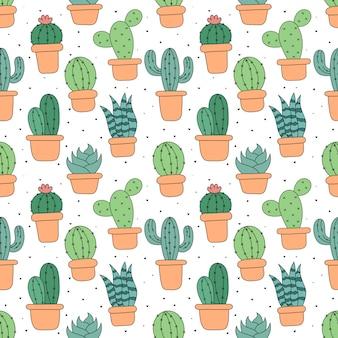 Kawaii seamless pattern cute cactus cartoon isolated