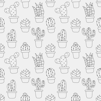 Kawaii seamless pattern cute cactus  cartoon isolated