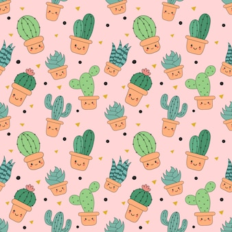 Kawaii seamless pattern cute funny cactus  cartoon isolated