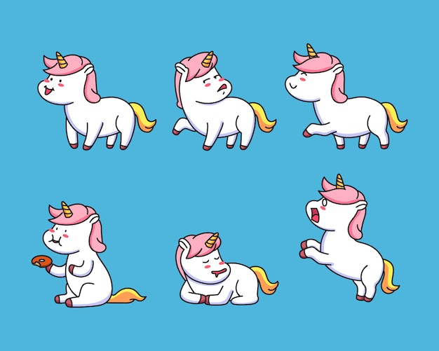Kawaii set little unicorn pose