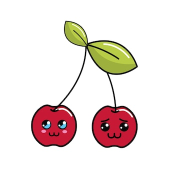 Kawaii shy and distracted cherry fruit icon