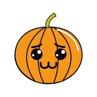 Kawaii shy pumpkin vegetable icon