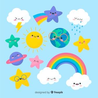 Коллекция рисованной kawaii sky символов