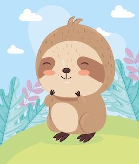 Каваи ленивец мультфильм животных на пейзажной иллюстрации