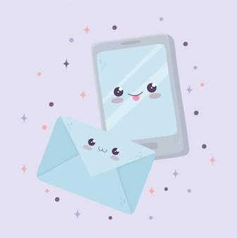 Мультфильм каваи смартфон и конверт