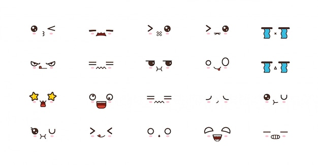 Kawaii smile emoticons. japanese emoji