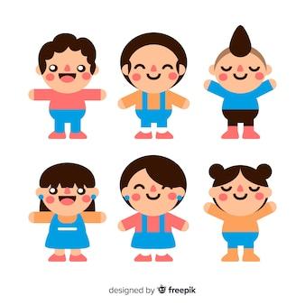 Kawaii smiling characters pack