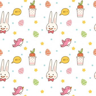Kawaii spring seamless background