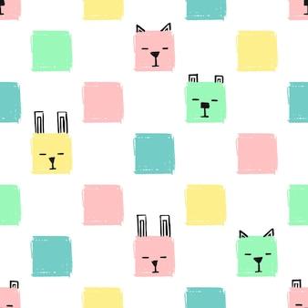 귀여운 사각형 동물 완벽 한 패턴입니다. 벡터 손은 고양이, 개, 토끼의 얼굴로 배경을 그립니다. 끝 없는 배경 연필 파스텔 색상의 사각형의 질감입니다.