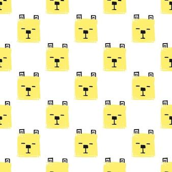 귀여운 사각형 동물 완벽 한 패턴입니다. 벡터 손으로 강아지의 얼굴로 배경을 그립니다. 끝 없는 배경 연필 파스텔 색상의 사각형의 질감입니다. 포장용 템플릿, 베이비 텍스타일