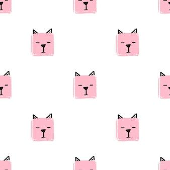 귀여운 사각형 고양이 완벽 한 패턴입니다. 벡터 손 고양이의 얼굴로 배경을 그립니다. 끝 없는 배경 연필 파스텔 색상의 사각형의 질감입니다. 포장용 템플릿, 베이비 텍스타일