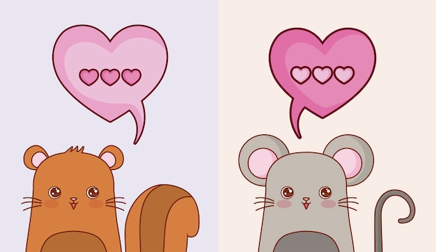 Kawaii  squirrel and mouse