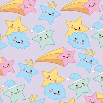 Kawaii star cloud crown cartoon pattern vector illustration