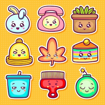 Kawaii sticker icone disegnate a mano doodle da colorare