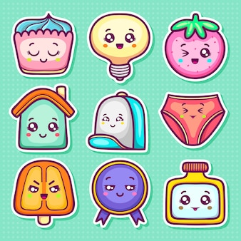 Kawaii sticker icons hand drawn doodle coloring
