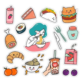 Kawaii sticker set in doodle style