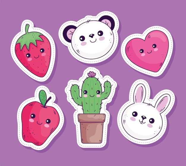 Kawaii stickers cartoons icon collection design, cute character theme