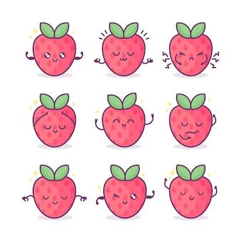 얼굴 하트와 반짝임이 있는 카와이 딸기 베리 귀여운 재미있는 과일 말장난