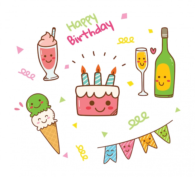 Kawaii style birthday doodle