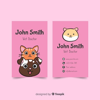 Kawaii style business card template