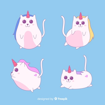 Kawaii style caticorn character collection