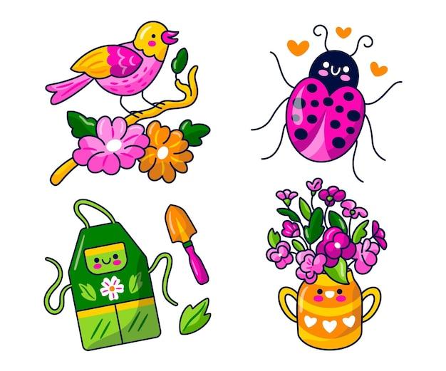 Kawaii style spring stickers set