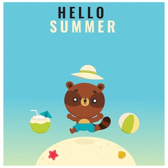 Kawaii style summer character collection background template
