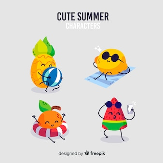 Kawaii style summer character collection