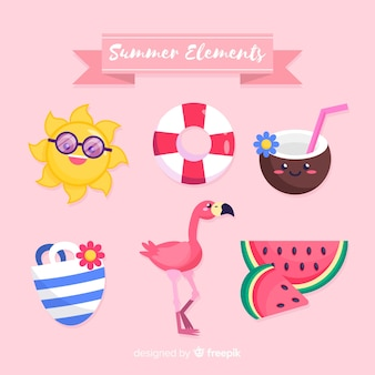 Kawaii style summer element collection